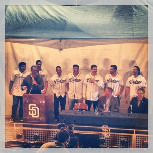 Padres Players Line the backdrop during the Padres Members Meeting at Petco Park