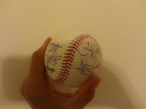 Baseball signed by members of 1998 Padres team.