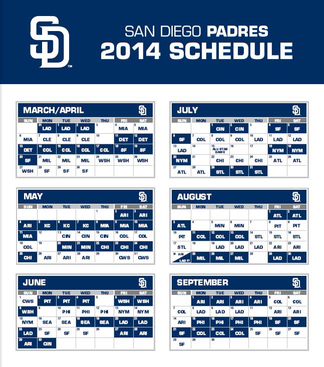 2014 Padres Schedule